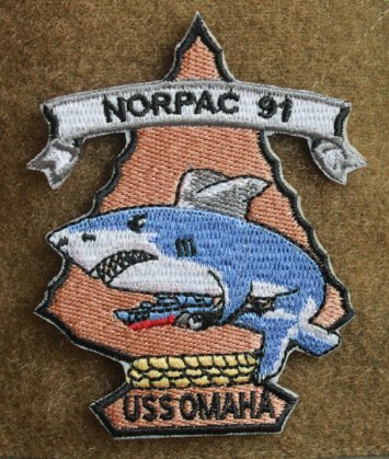 USS Omaha NORPAC 91 Cruise Military Patch Fabric Embroidered Badges Patch Tactical Stickers for Clothes with Hook & Loop]()