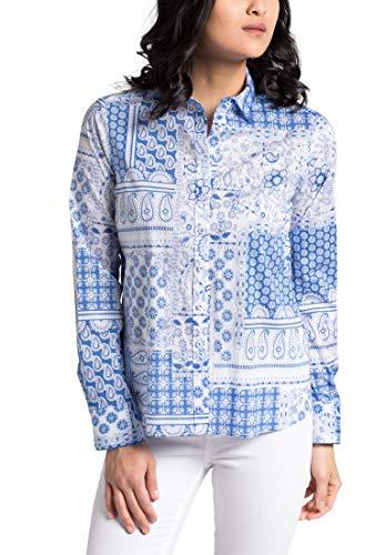 Blouse Printed bianco Classic Sleeve Chiaro Modern Eterna Long Azzurro qpOHEH
