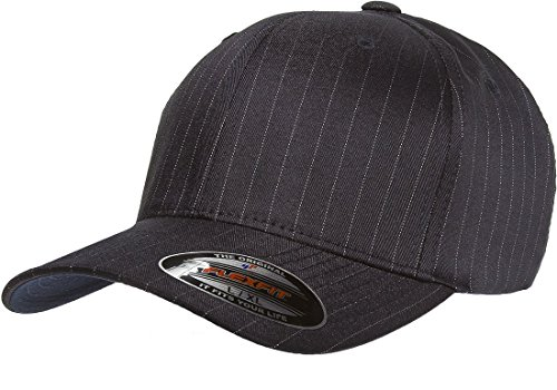 - Original Flexfit Pinstripe Hat Baseball Blank Cap Fitted Flex Fit 6195P Large / Xlarge - Navy / White
