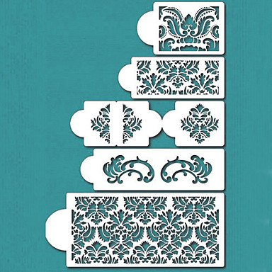 FMY Damask Cake Stencil Set, Cake Border Stencils Set,Cake Side Design Stencil,ST-198 by Rosie by Rosie