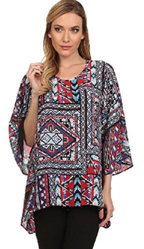 Womens Ladies 3/4 Sleeve Tribal Print Abstract Long Tunic Top (Animal Print Georgette Tunic)