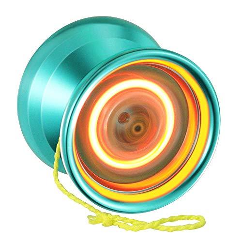 MAGICYOYO Y02 Aurora Light Up Yoyos Pro Yoyo Unresponsive Yo-yos with Glove Bag 5 Strings Metal Yo Yo Trick Play (Green Yoyo with Orange Light UP)