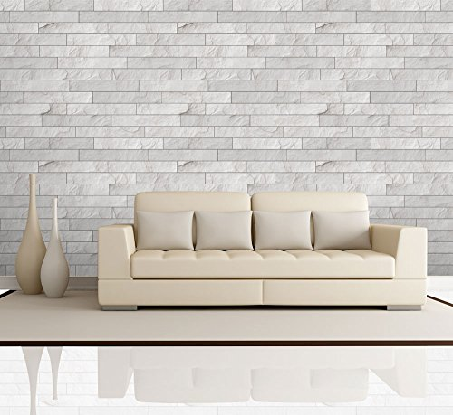Horizontal Soft Gray Brick Pattern Paneling Wall Mural Removable Wallpaper