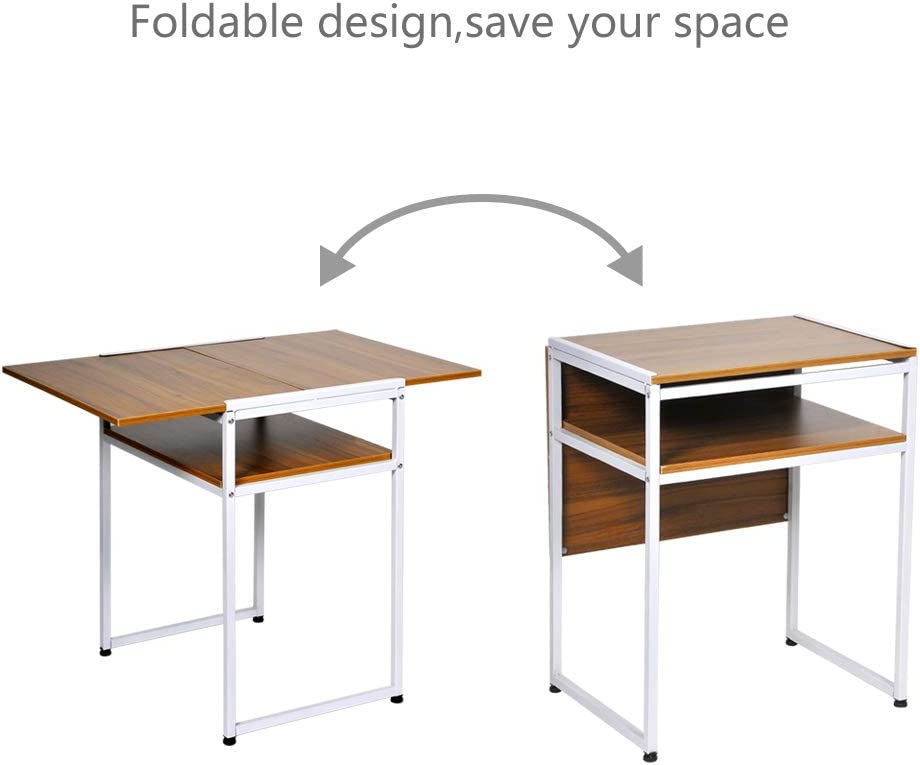 aHUMANs Foldable Dining Table with Storage Shelf Drop Leaf Dinner Table for Small Space Apartment Dinette Wooden Top Computer Desk with Metal Frame Dark Walnut