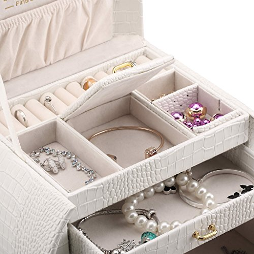 finether schmuckk stchen 3 ebenen mit schubladen und spiegel schmuckkasten schmuckkoffer. Black Bedroom Furniture Sets. Home Design Ideas