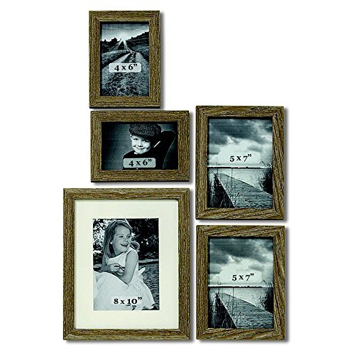 (WHW Whole House Worlds Tribeca Gallery Frames, Set of 5, Assorted Sizes: 2/4 x 6, 2/5 x 7, and 1/8 x 10 Inches, Natural Wood, Dark Gray Stained, Glass Insert)