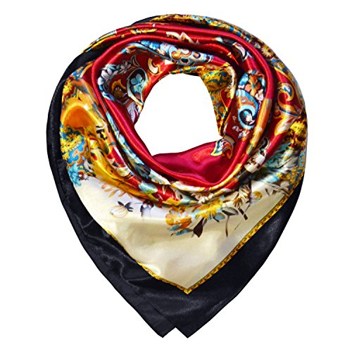 - TONY AND CANDICE Women's Square Scarf 100% Polyester Silk Feeling, 33X33 Inch (Color 1)