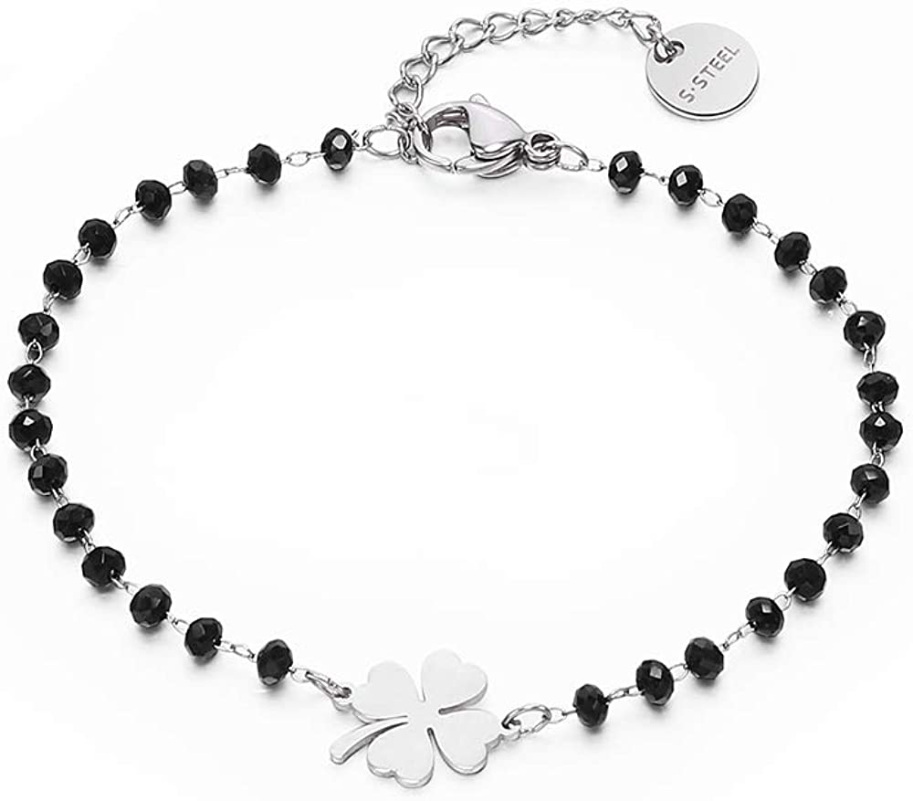 Star Bracelet en cristal noir pour les femmes Bracelet en acier inoxydable plaqu/é or rose et argent avec coeur Tr/èfle /à quatre feuilles