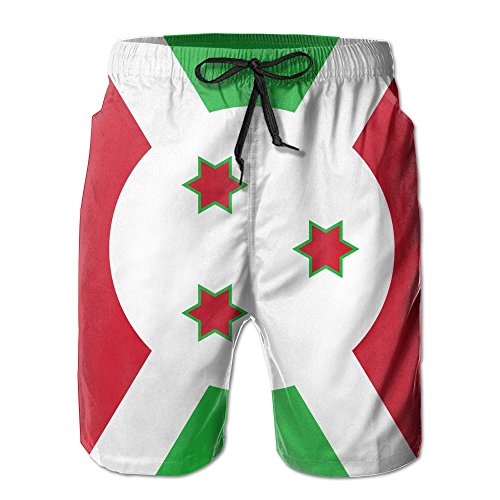 Flag Of Burundi Casual Cool 3D Print Relaxed Men Summer Surfing Quick-Drying Swim Trunks Beach Shorts Beach Pants With Pocket