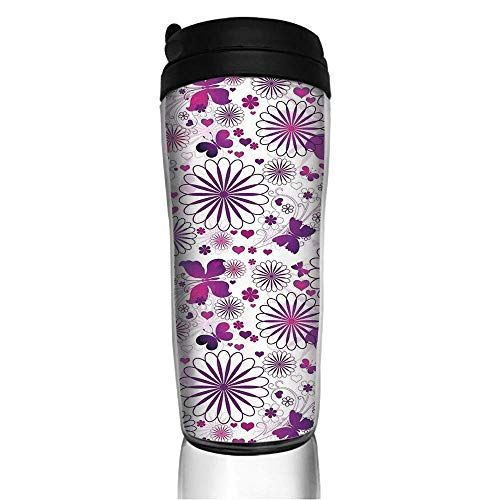 Stainless Steel Insulated Coffee Travel Mug,Cycle Caterpillar Larvae Winged Camouflage,Spill Proof Flip Lid Insulated Coffee cup Keeps Hot or Cold 11.8oz(350 ml) Customizable printing - Caterpillar Mug