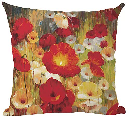 ramirar Hand Painted Ink Oil Painting Watercolor Red Orange White Poppy Flowers Brown Decorative Throw Pillow Cover Case Cushion Home Living Room Bed Sofa Car Cotton Linen Square 18 x 18 Inches