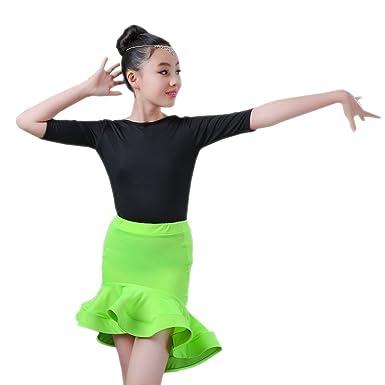 BOZEVON Niña Baile Latino Tops + Falda Conjunto Danza Moderna ...