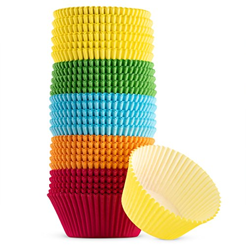 - Green Direct Cupcake Liners - Standard Size Cupcake Wrappers to use for Pans or carrier or on stand - Multi bright Colors [Blue - Red - Yellow - Green - Orange] Paper Baking Cups Pack of 500