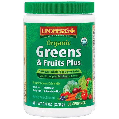 Fruit Plus Supplement - Lindberg Organic Greens & Fruits Plus, 9.5 Ounces