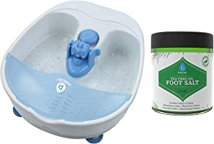 Pursonic Foot Spa Massager with Vibrating Bubbles & Tea Tree Oil Foot Salt Scrub with Epsom Salt 21oz Gift Set, Melts Away Stress and Revitalizes Tired Feet with Changeable Massage Attachment