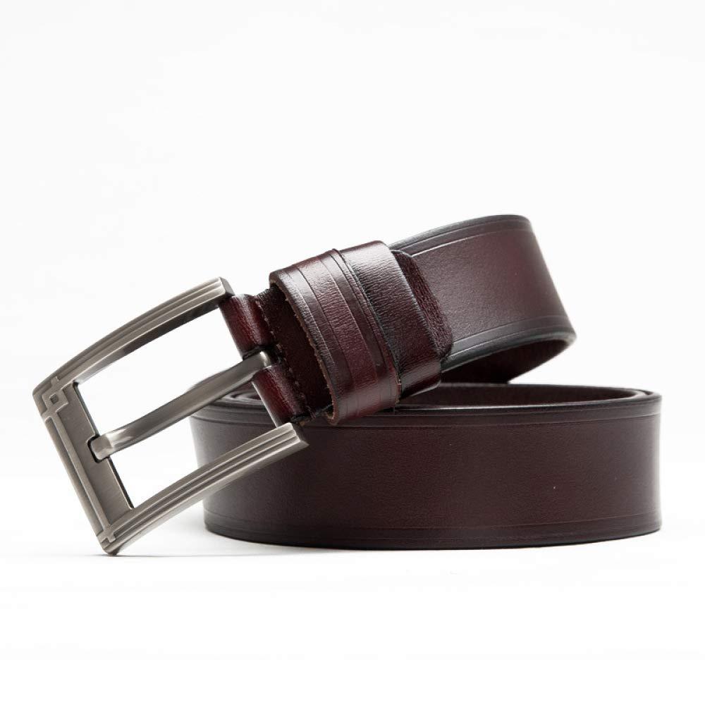 DENGDAI Mens Belt Leather Needle Buckle Belt