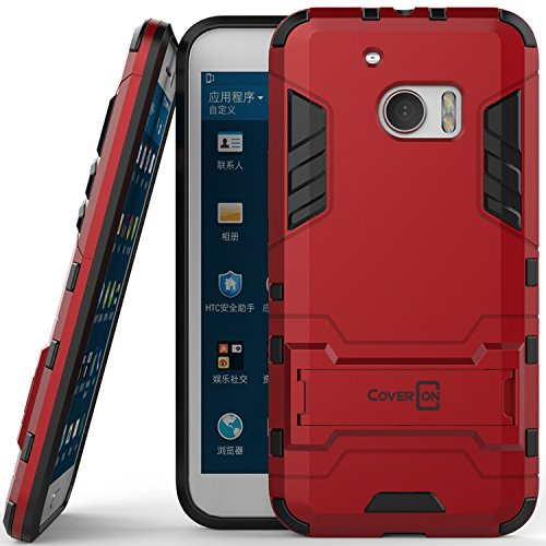 - HTC 10 Case, CoverON [Shadow Armor Series] Hard Slim Hybrid Kickstand Phone Cover Case for HTC 10 - Red