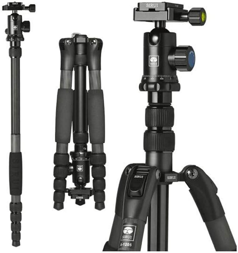 MUZIWENJU Camera Stand Professional Grade Carbon Fiber with PTZ SLR Camera Tripod Reflex SLR Camera Tripod Detachable Monopod Color : Black