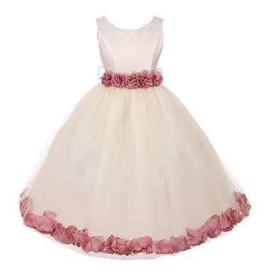 3885a00f26d Little Girls Ivory Mauve Floral Petals Embellished Flower Girl Dress 1-2T