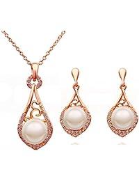 18K Gold Tone Crystal Necklace Drop Earrings Set Pearl...