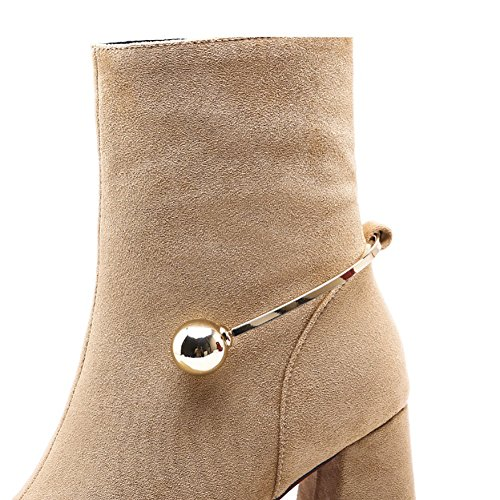 High Toes Pointed Genuine Leather Shoes QZUnique Buckle Zipper With Women apricot Stylish Martin Thick U Heels Shoes w885g0