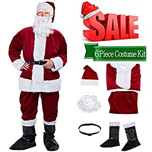 Christmas Santa Claus Costume with Beard,Velvet Men's Deluxe Santa Suit,Wine Red,M to L