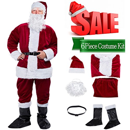 Christmas Santa Claus Costume with Beard,Velvet Men's Deluxe Santa Suit,Wine Red,M to L (Santa Suits Deluxe)