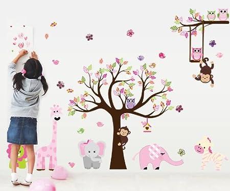 dise/ño de mono y b/úho Adhesivo decorativo para pared