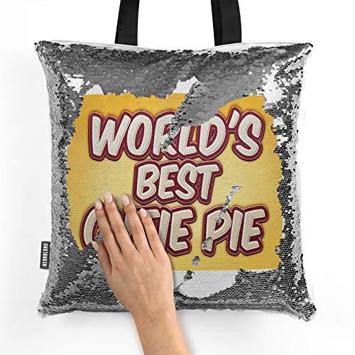 NEONBLOND Mermaid Tote Handbag Worlds best Cutie Pie, happy yellow Reversible Sequin