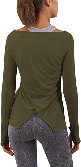 ICTIVE Womens Workout Shirts Long Sleeve Open Back Fitness Athletic Tops for Women with Thumb Holes