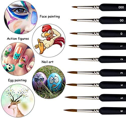 Line Drawing Face Oil Nail Scale Model Painting Acrylic Paint Brushes Set 9PCS,Artist Paint Brushes,Nylon Hair Fine Detail Miniature Painting Brushes for Acrylic Watercolor