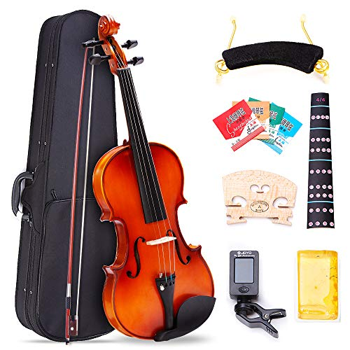 4/4 Full Size Violin, Tenozek Natural Solid Wood Satin Acoustic Starter Kit with Extra Strings, Case, Bow, Rosin, Clip-on Tuner, Shoulder Rest, Bridge and Finger Guide by Tenozek