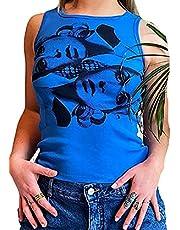 Kvinnors avslappnade ärmlösa linnen Y2K grafiska tröjor Cami sommar magtröja basic korsett linne t-shirt