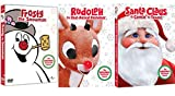 Top Hats Red Noses & Jolly St. Nick Christmas Classics Original Animated Frosty the Snowman / Santa Claus is Coming to Town & Rudolph the Reindeer Holiday 3 Pack