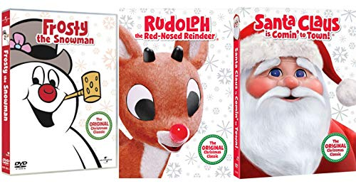 Top Hats Red Noses & Jolly St. Nick Christmas Classics Original Animated Frosty the Snowman / Santa Claus is Coming to Town & Rudolph the Reindeer Holiday 3 Pack -