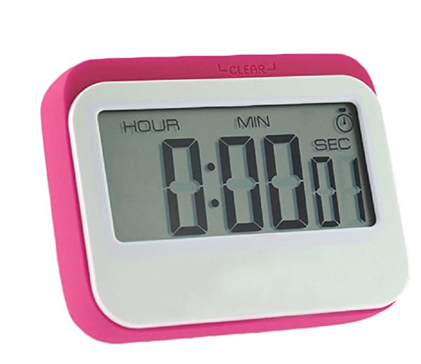 Digital Kitchen Timer, Big Digits, Loud Alarm, Magnetic Backing,Stand (red)