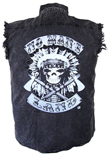 Leather Supreme Men's No Mans Land Indian Chief Denim Cutoff Biker Shirt-Charcoal-Small