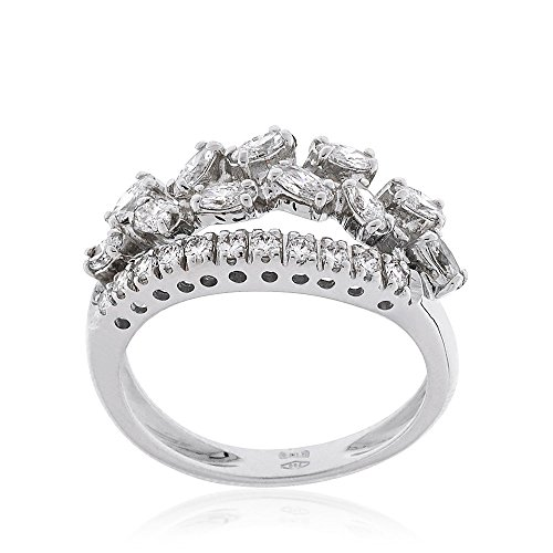 "Gioiello Italiano – White gold ""Garland"" ring with diamonds"