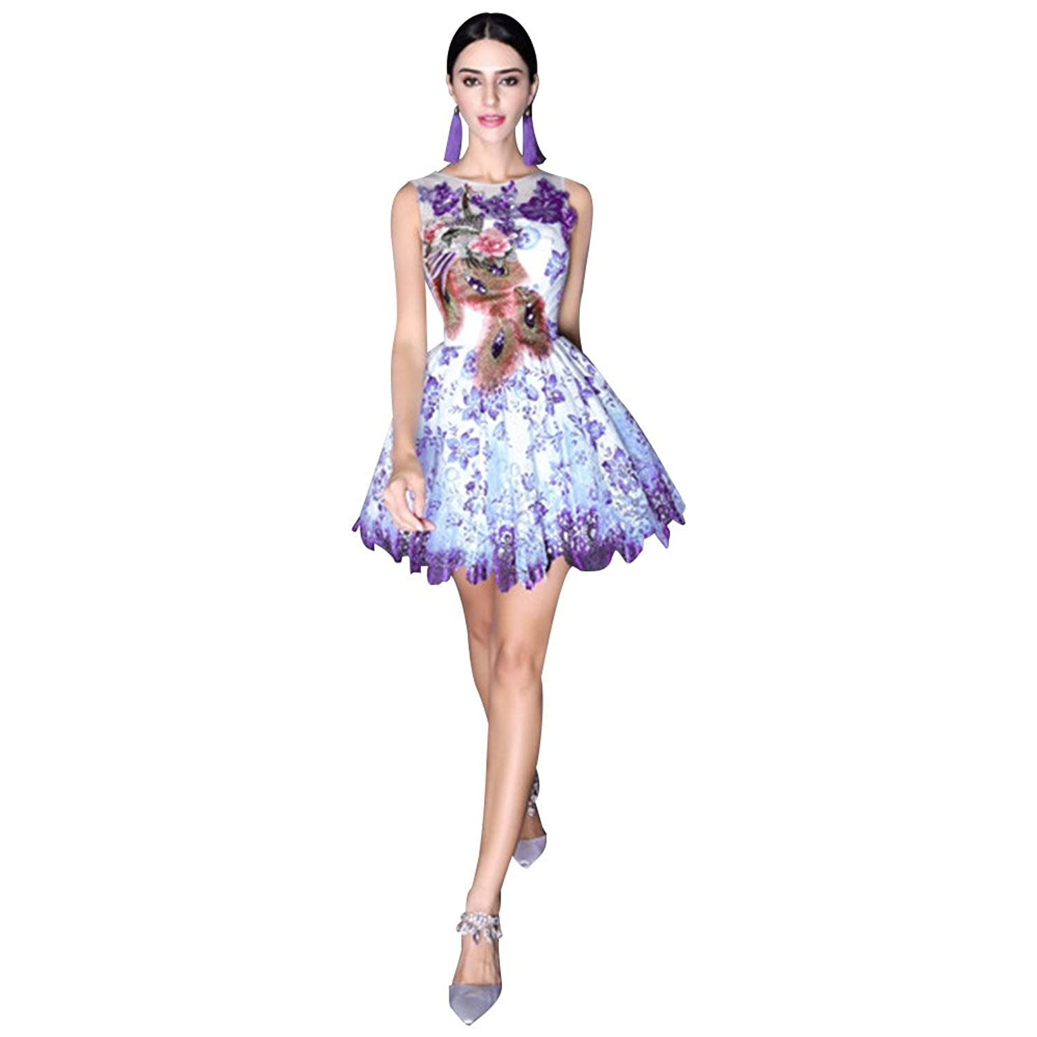 Eastlion Peacock Embroidery Women Dress Chinese Blue and White Porcelain Style Dresses Banquet Women Evening Gown Dress