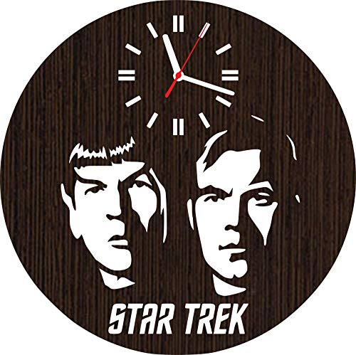 Wooden wall clock star trek gifts for men women him her adults kids dad toys art poster accessories decor decorations tv show series merchandise stuff spock film dvd shirt funko pop movies vinyl