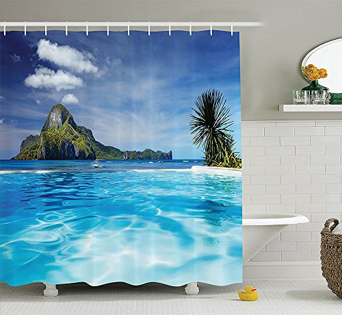 Pool Liner Cove Kit (House Decor Collection Landscape with Swimming Pool and Distant Island Tropical Exotic Hawaiian Dream Theme Polyester Fabric Bathroom Shower Curtain Set with Hooks Turquoise)