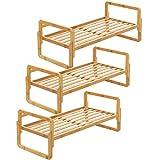 SONGMICS 3-Tier Stackable Bamboo Shoe Rack Shelf Storage Organizer for Entryway Closet and Hallways ULBS63