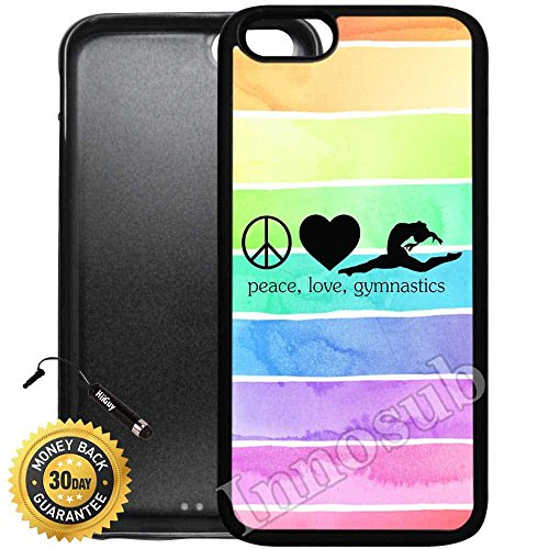Custom iPhone 7 Plus Case (Peace Love Gymnastics) Edge-to-Edge Rubber Black Cover with Shock and Scratch Protection | Lightweight, Ultra-Slim | Includes Stylus Pen by Innosub