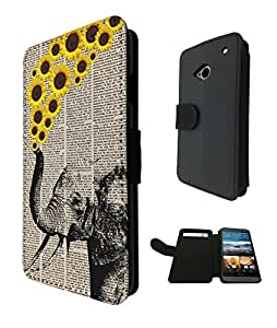 570 - Funky Aztec elephant Floral Sunflowers Trunk Design Fashion Trend TPU Leather Flip Case For htc one M9 Full Case Flip Credit Card TPU Leather Purse Pouch Defender Stand Cover