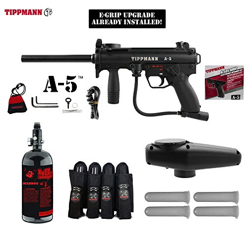 MAddog Tippmann A5 A-5 w/Selector Switch E-Grip Advanced Paintball Gun Package - Black