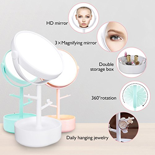 Multifunctional Mirror LuckyFine Two-sided Big Makeup Mirror Clear Cosmetics Vanity Mirror With Casket Depositing Your Toiletry Little Things - Casket Care