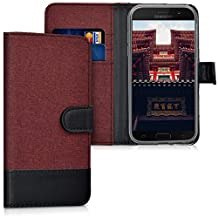 kwmobile Wallet case Canvas Cover for Samsung Galaxy A5 (2017) - Flip case with Card Slot and Stand in Dark red Black