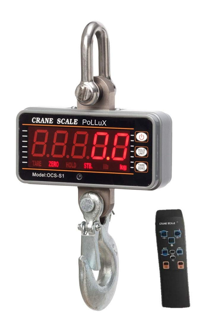 PoLLux Industrial Heavy Duty Hanging Scale 1000KG 2000LBS High Precision Digital Crane Scale with Remote Silver