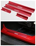 Highitem New One Set of 4 Pcs Aluminum Alloy Front & Rear Door Sill Protector Cover Scuff Plate Entry Guards for 2007-2016 Jeep Wrangler JK 4 Door (Red)