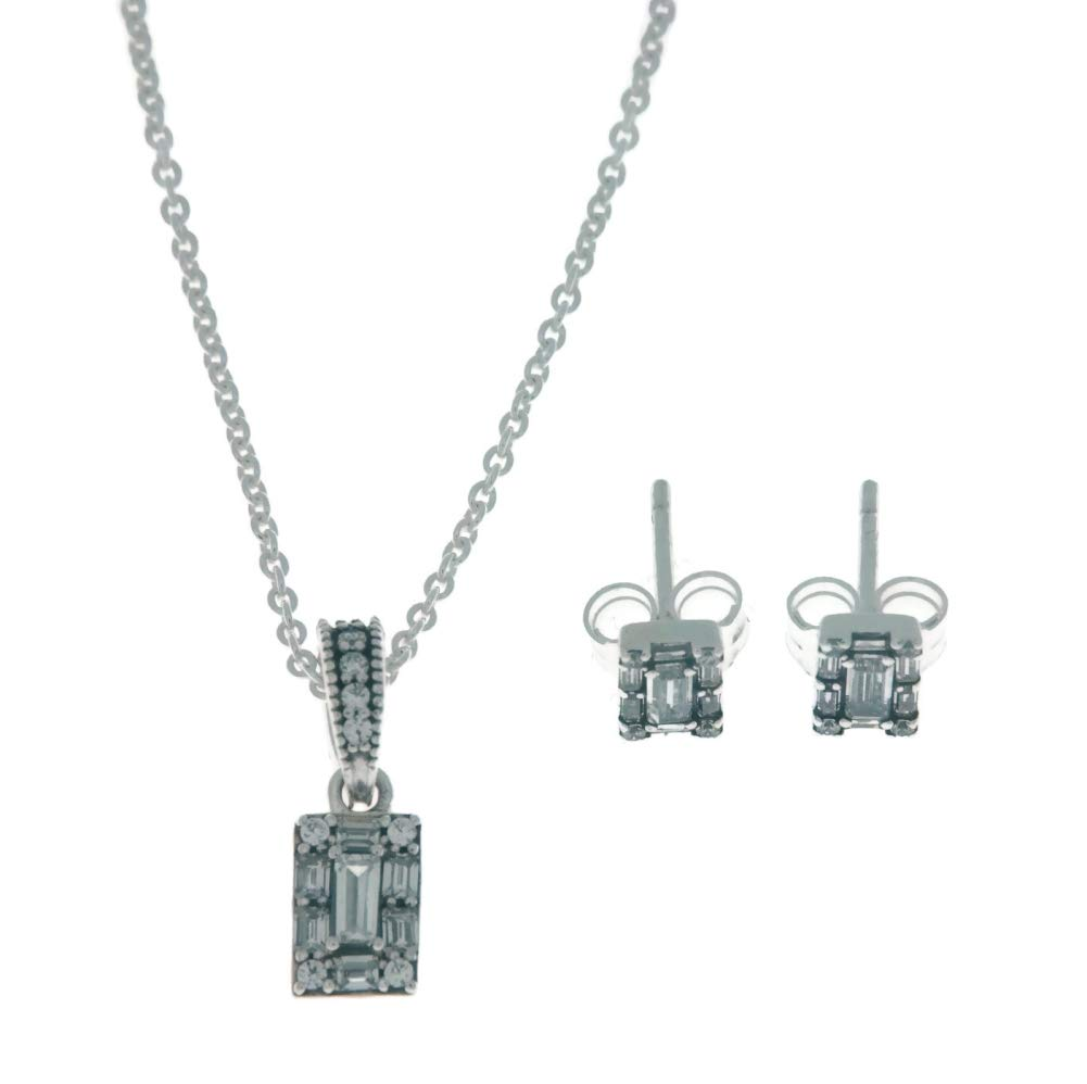 PANDORA Luminous Ice Necklace Earrings 925 Sterling Silver Gift Set, Size: 45cm, 17.7 inches - B801003